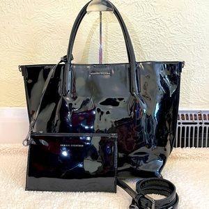 ARMANI EXCHANGE black shiny tote